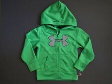 Under Armour Big Logo Fleect Sweat Hoodie Jacket Green Size 5 NWT Genuine
