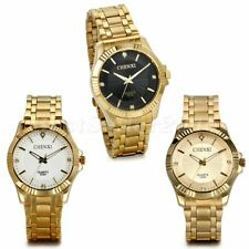 Luxury Men's Gold Tone Stainless Steel Band Quartz Wrist Watch Business Watches