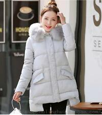 Winter Down Cotton Jacket Womens Zipper Coat Leisure Fur Hooded Outerwear Parkas