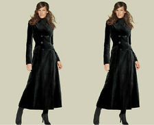 Womens Full Length Long Double Breasted Lapel Wool Blend Trench Coats Outwears