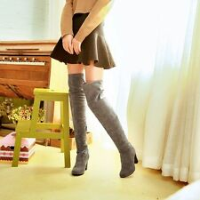 Womens Fashion Faux Suede Block Heel Over Knee Thigh High Boots Shoes Plus Size