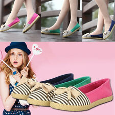 Womens Round Toe Casual Loafers Lady Stripe Bowknot Flats Canvas Slip On Shoes