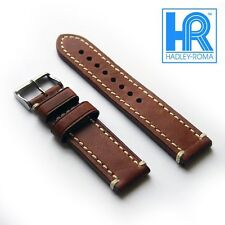 Hadley-Roma MS855 Calf Leather Watch Band Bworn With Vintage Style Stitching