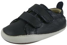 Old Soles 113R Boy's Navy Bambini Soft Leather Double Crib Walker Baby Shoes