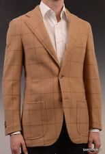 RUBINACCI Napoli Tan Windowpane Cashmere Blazer Soft Jacket NEW Slim