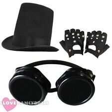 3 PIECE STEAMPUNK STOVEPIPE HAT, BLACK GOGGLES + GLOVES VICTORIAN FANCY DRESS