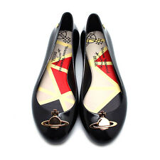"NEW VIVIENNE WESTWOOD ANGLOMANIA X MELISSA Black ""SPACE LOVE II"" Orb Jelly Flats"