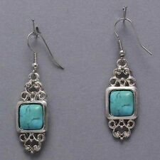 Turquoise Dangle Earrings Vintage Silver Tibet Lucky Gemstone