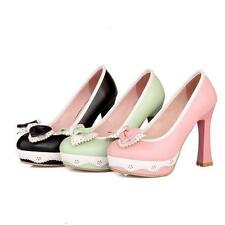 Cute Womens Vintage High Block Heel Bowknot Lolita Pump Court OL Shoes Plus Size