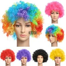 12 Colour Curly Afro Fancy Dress Funky Wig Disco Clown Mens Ladies Costume KECP