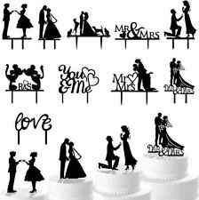 Mr Mrs Heart Wedding Cake Topper Decor Bride Groom Black Silhouette