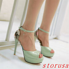 Women High Heels Peep Toe Plaltform Ankle Strappy Dress Party Shoes Sandals Size