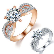 Fashion Women Crystal Rhinestone Rose Gold/Platinum Plated Zircon Rings Jewelry