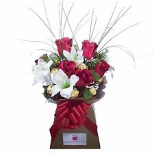 Luxury Ferrero Rocher/Lindt Lindor & Red Silk Rose/Lily Chocolate Bouquet