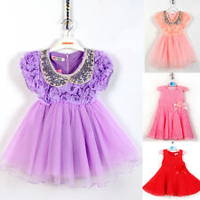 Girls Party Dress Toddler Kids Dresses for Girl lace flower pink purple costume