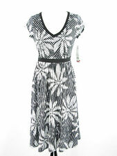 NY Collection Black/ White Floral Stripe A Line Dress NWT