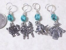 sheep knitting stitch markers, pewter charm,4.5,6.5mm sizes,spinning wheel, gold