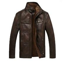 Winter Mens Faux Leather Casual Short Jackets Warm Fur Lining Coats Parka New