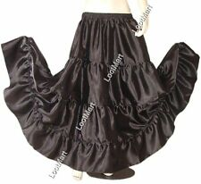 Belly Dance Black Satin 4 Tier Gypsy Skirt Costume Tribal Ruffle Jupe 27 Colors