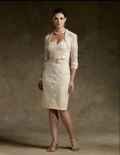 New Champagne Lace Mother of the Bride dresses tea length prom gown free jacket