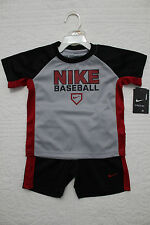 NEW BOYS NIKE BASEBALL 2 PIECE SET SHIRT AND SHORTS OUTFIT $40 GRAY BLACK RED