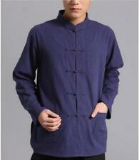 Long Sleeve Mens Cotton Retro Button New Tops Fashion Casual Shirt Chinese Style