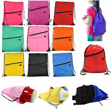 String Drawstring Backpack Cinch Sack Gym Tote Bag Polyester School Sport Pack D