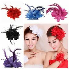 Charm Women Bridal Flower Feather Bead Hair Clips  Hairband Brooch Pin Wedding
