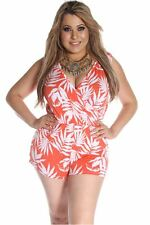 121AVENUE Adorable Two Tone Romper 1X 3X Women Plus Size Orange Romper