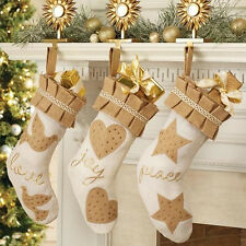Mud Pie MH6 Glitter Holiday Christmas White Burlap Stocking 4684001