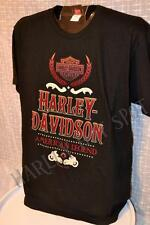 NWT Harley Davidson Mens *Old Type* Flocked Graphics Black Tee T Shirt Run Small