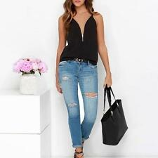 Fashion Black Spaghetti Strap Zipper Women Vest Tank Shirt Beach Party Tops S-XL