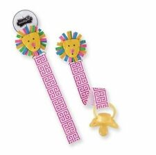 Mud Pie Safari Baby Girl Infant Grosgrain Ribbon Pink Lion Pacy Pacifier Clip...