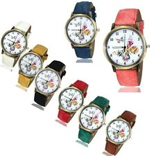 New Fashion Butterfly Leather Quartz Girl Women Ladies Analog Wrist Watch Quartz