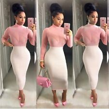 Sexy Women Casual Long Sleeve Bodycon Party Evening Cocktail Club Dress
