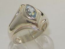 Made & Hallmarked in England Solid Sterling Silver Natural Aquamarine Band Ring