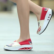 Athletic Breathable Trainer Sneakers Women Canvas Slip-On Walking Platform Shoes
