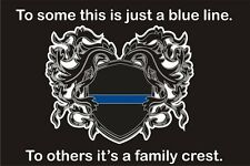 Thin Blue Line Family Crest Reflective Rectangle Decal