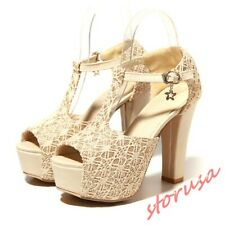 Women High Block Heel Platform T Strappy Shoes Buckle Wedding Party Shoes Size
