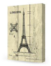 DecorArts-Canvas Prints Wall Art The Eiffel Tower on Vintage wooden background