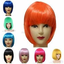 Womens Sexy Full Bangs Wigs Short Wig Straight BOB Hair Cosplay Party Multicolor
