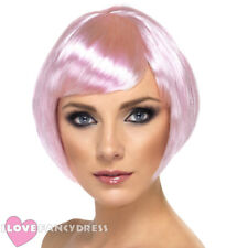 SHORT PINK BABE WIG BOB WITH FRINGE LADIES HEN PARTY FANCY DRESS WEAR IT PINK