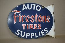 FIRESTONE TIRES  PORCELAIN FLANGE SIGN GAS SERVICE 2-SIDED AUTO SUPPLIES