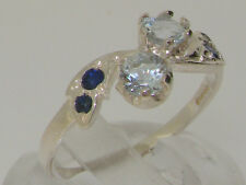 Solid Sterling Silver Natural Aquamarine & Sapphire Ladies Band Ring