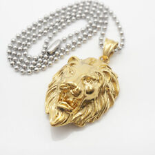18 K Gold/Silver Plated Stainless Steel Mens Lion Head Pendant Necklace Jewelry