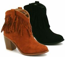 Ladies Womens Tassel Mid High Block Heel Ankle Boots Fringe Suede Shoes New Size