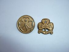 Two girl guides vintage pin badges