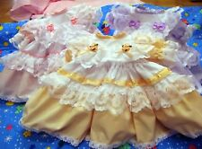 DREAM BABY GIRLS TRADITIONAL ROMANY FRILLY DRESS PINK LILAC PEACHOR REBORN DOLLS