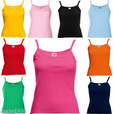 3 Pack Fruit Of The Loom Lady Fit Strap T-Shirt.  Fitted Summer Plain Vest Top