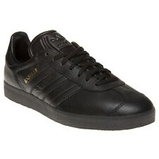 New Mens adidas Black Gazelle Leather Trainers Mono Lace Up